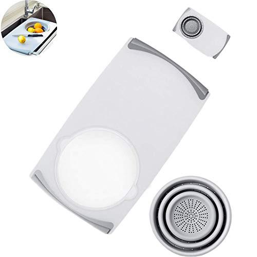 JIASHU Tabla de Cortar sobre el Fregadero, colador Progresivo, Desmontable, Plegable, Apto para lavavajillas, se Adapta a la mayoría de los fregaderos 19.7 * 11.2 * 0.8 Pulgadas