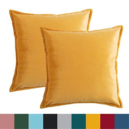 Bedsure Kissenhülle 50x50 gelb Doppelpack, Kissenbezug 50 x 50 cm aus samt Mikrofaser, dekorative Kissenbezüge 2er Set weich und atmungsaktiv