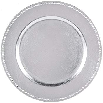 Tiger Chef Round Charger Plates Silver Beaded Dinner Chargers - 13-inch Wedding Charger Plates (12 Pack)