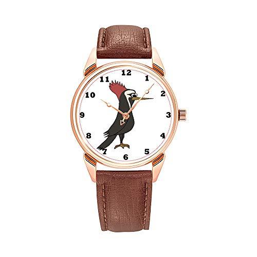 Reloj de pulsera para hombre, de cuarzo, resistente al agua, brillante, de piel marrón, con dibujos animados y pelota de tenis