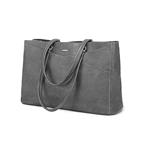 LOVEVOOK Handtasche Laptoptasche Damen 15,6 Zoll Handtasche Business Laptop Schultertasche Tote Bag Aktentasche Leicht Laptop Notebook für Büro Schule Einkauf Dunkelgrau