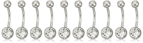 Body Candy Stainless Steel Barbell Clear Accent Belly Button Ring Pack of 10