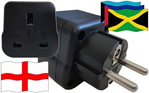 Adaptador de enchufe para Karibik – Adaptador de enchufe de Inglaterra con protección de contacto enchufe de viaje