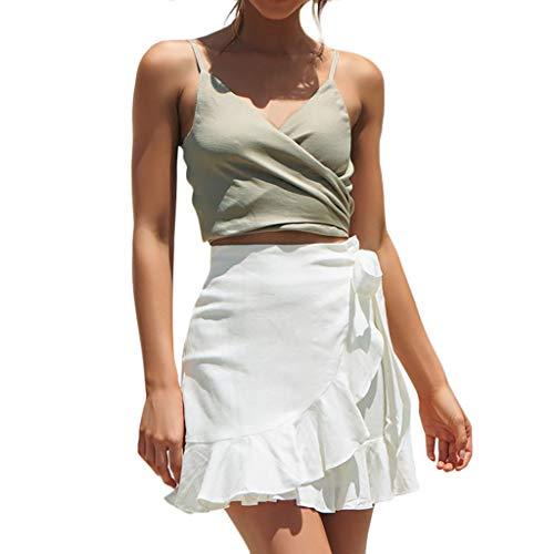 SALUCIA Damen Mini Wickel Rock Hohe Taille Asymmetrisch Kurz Röcke Unifarben Glockenrock Faltenrock Minirock Skirt mit Schleife Gürtel