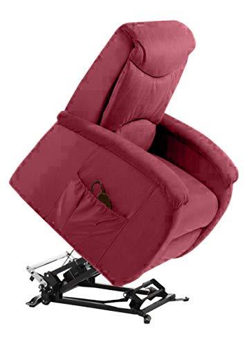 BELLAVITA Lifting And Reclining Relax Armchair mit 2 Motoren und Rollern (Red) für Zuhause, Büro, elektrischer Sessel mit Rollen, Sessel für Senioren, Behinderte