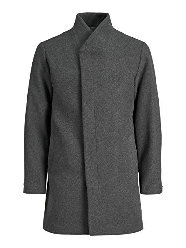 JACK & JONES Male Mantel Recycling Wollmischfaser LDark Grey Melange