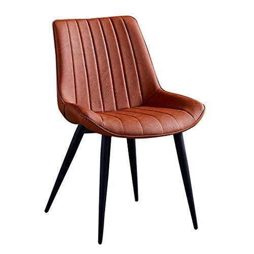 zyy - Sedie da cucina vintage in pelle sintetica con schienale e seduta imbottita + gambe in metallo, sedie per sala da pranzo e sala da pranzo (colore: arancione)