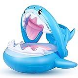 MOLPE Flotador Bebé, Sombrilla Ajustable Barco Anillo Flotadores para Bebe con Asiento Anillo de Natación para 6-36 Meses Niños (Azul)