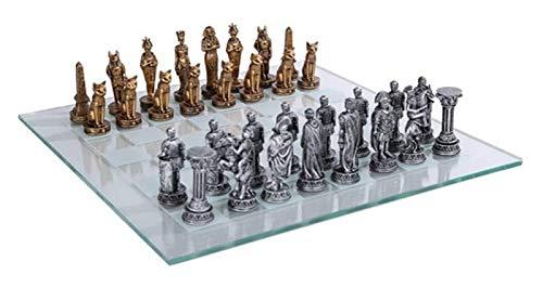 WANGZHI Chess Pacific Trading - Juego de ajedrez romana egipcia con tabla de cristal
