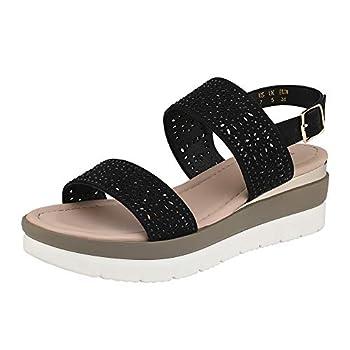 DREAM PAIRS Women s Andrea-3 Ankle Strap Open Toe Flatform Platform Wedge Sandals Shoes Size 7.5 Black/3