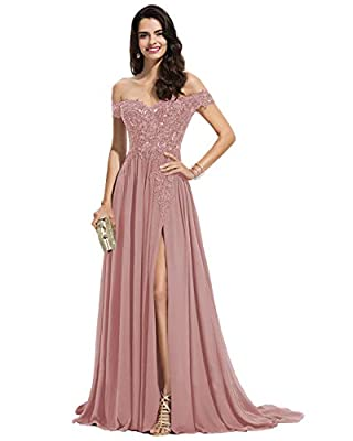 Miao Duo Dusty Rose Long Prom Dresses for Women 2021 Off Shoulder Bridesmaid Dresses with Slit Chiffon Evening Formal Gowns Dusty Rose 10