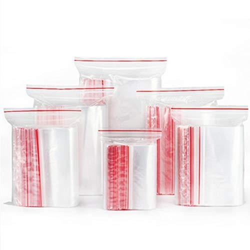 Wis-Life Se pueden volver a sellar varios tamaños en bolsas de plástico transparentes, selladas y duraderas para almacenamiento en la cocina, joyería y papelería. (h6*9cm,200pcs)