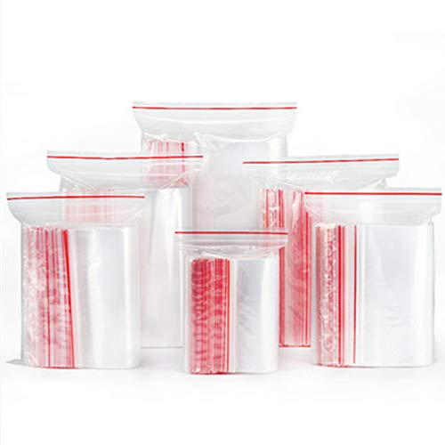 Wis-Life Sacchetti di plastica trasparenti richiudibili multiformato, sacchetti sigillati a pressione per riporre in cucina, imballaggi di gioielli (h8*12cm,200pcs)
