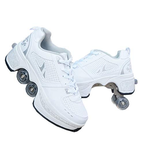 PLMOKN Rollschuhe mit 4 Rädern, verstellbar, 2-in-1-Mehrzweck-Schuhe, für Jungen und Mädchen 34 a