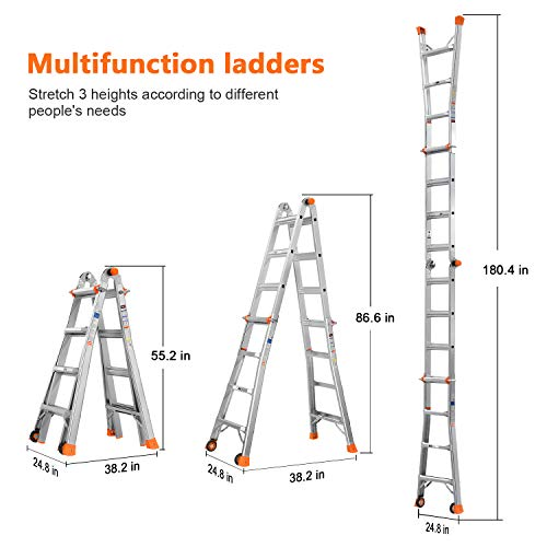 TACKLIFE Extension Ladder, 5 in 1 Multi-Use, 17 Feet Aluminum Telescoping Ladder with 2 Flexible Wheels, Non-Slip Rubber Feet, Safe Protective Switch, 300lb Load Capacity, Home-Use, Indoor, Project