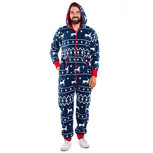 Weihnachten Jumpsuit Damen, Herren Rentier Lustig Paare Einteiler Weihnachtspyjama Outfit Frauen Christmas Pyjamas Overall Kapuzen Schlafanzüge Hausanzug Ganzkörperanzug mit Reißverschluss (15,M)