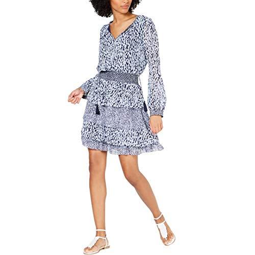 Michael Michael Kors Ikat Spot Tier Dress Shore Blue LG