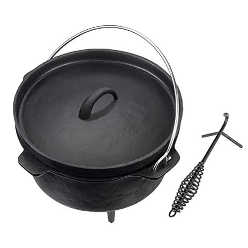 LANDMANN Dutch Oven mit Deckelheber | Vielfältige Einsatzmöglichkeiten: Zum Kochen, Backen, für Eintöpfe, Braten oder Schmoren | Dutch Oven Topf aus Gusseisen | 9 Liter [schwarz]