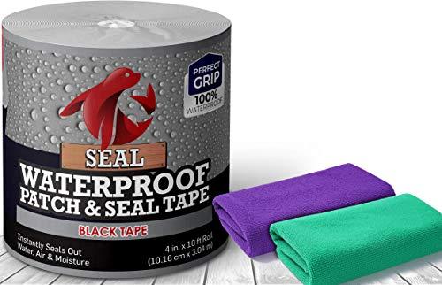 Seal Tape, Waterproof Tape Patch & Seal Tape 4' x 10 Feet, Waterproof fix Repair Tape Heavy Duty Duct Tape Under Water Tape (Black)