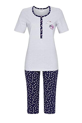 Ringella Damen Pyjama mit Caprihose Silbergrau 42 1211214,Silbergrau, 42