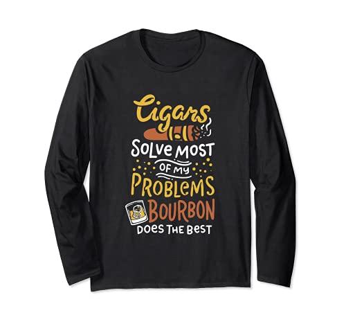 葉巻とウイスキー葉巻スモーカー 長袖Tシャツ