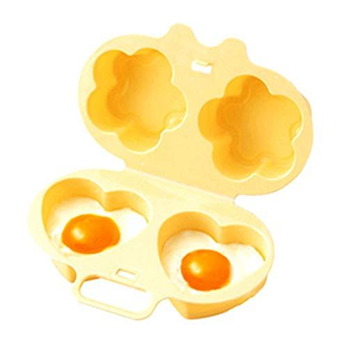 LEZED Huevo Horno de microondas hervidor de Huevos Forma de Corazón y Flor para cocinar Huevos Herramientas de Cocina