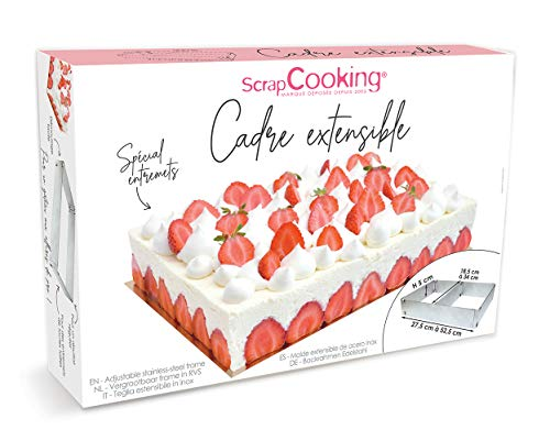 SCRAP COOKING 1911 Cadre à Pâtisserie Extensible Rectangle, INOX 18/0, Argenté, 29,5 x 20 x 6 cm
