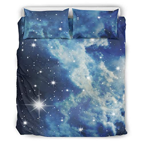 Knowikonwn Galaxy Duvet Cover Sets 3 Pieces Duvet and Pillow Cases - Nebula Easy Care Bohemian Bed Sheets Kits white4 66x90 inch