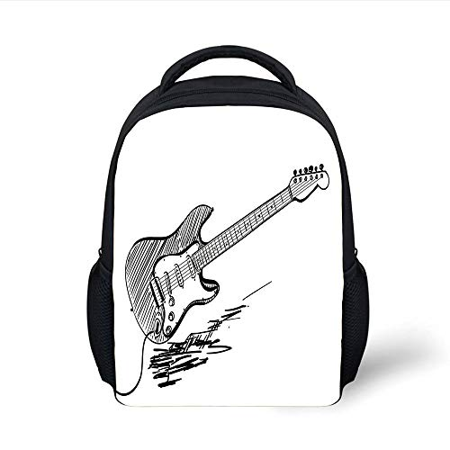 Kids School Backpack Guitar,Hand Drawn Style Electric Guitar on White Backdrop Rock Music Accords Sketch Art Decorative,Black White Plain Bookbag