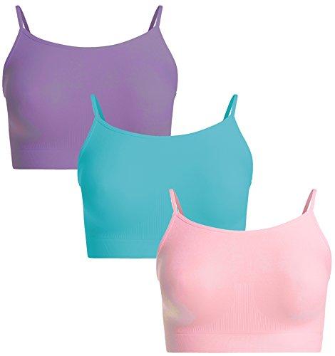 UnsichtBra Damen 3er Set Bustier Top BH ohne Bügel | Mehrpack Spaghettiträger Bralette BH Hemd | Frauen Sport Yoga Unterwäsche (Rosa, Blau, Lila, S-M)