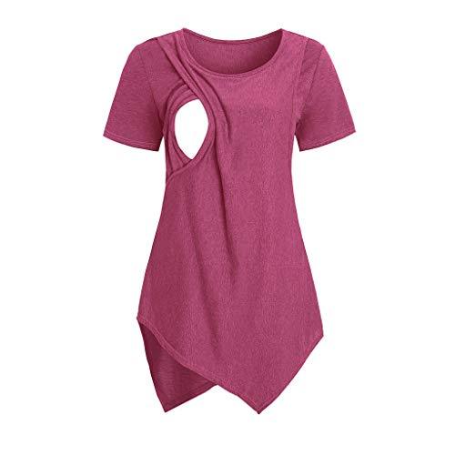 YWLINK Ocio Y Confort Verano Color SóLido Cuello Redondo Mujeres Maternidad Manga Corta Lactancia Bebé Lactancia Camiseta Embarazadas Tops Gris Rojo S-XXL