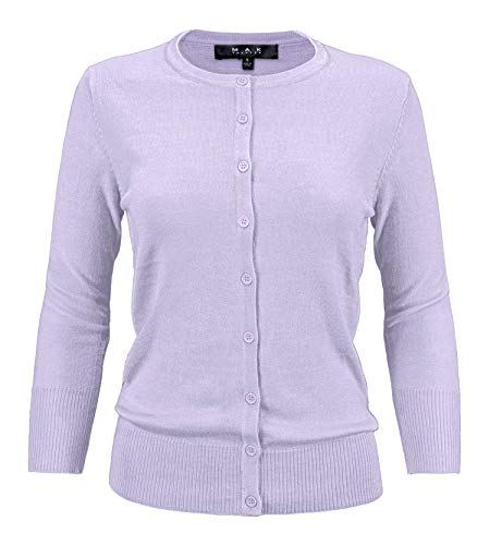 YEMAK Women's Knit Cardigan Sweater – 3/4 Sleeve Crewneck Basic Classic Casual Button Down Soft Lightweight Knitted Top CO079-LIL-L Lilac