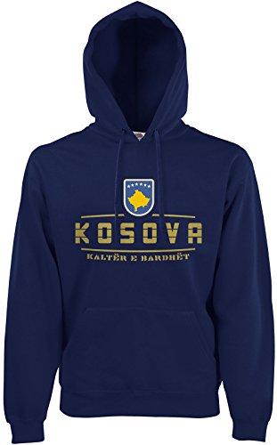 AkyTEX Kosovo Kosova Fan Hoodie Kapuzenpullover WM2018 Navyblau S