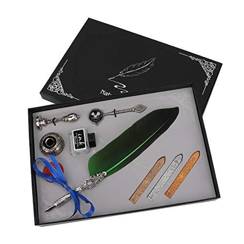 HEEPDD Caneta de pena de mergulho, caneta de pena antiga vintage de aço inoxidável, caneta-tinteiro, escrita e caligrafia, presente com caixa (verde)