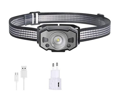 WWWL Linterna Frontal Sensor IR de Movimiento Mini Faro luz roja de 5 Modos Zoom Faro Recargable Cabeza antorcha de Caza BPackage