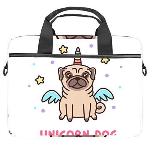 Shoulder Laptop Messenger Bag 15 inch Computer Handbag Case Cover Briefcases for Men Women Funny Pug Unicorn Dog