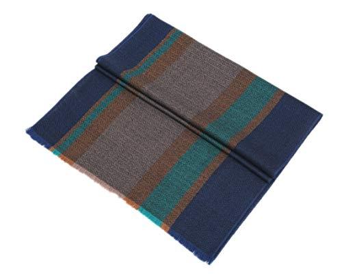prettystern Sciarpa da uomo classica in lana a righe a spina di pesce classica leggera adatta all'autunno e inverno - verde