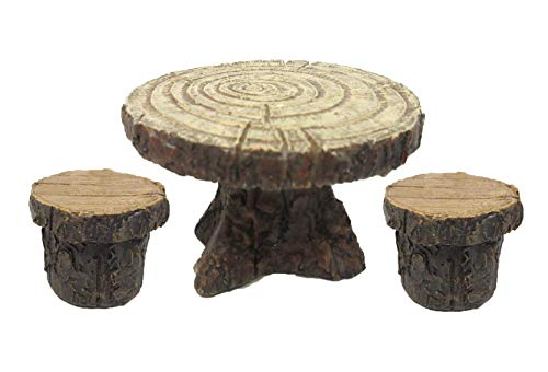 Pacific Giftware Enchanted Garden Tree Stump Table and Chairs Set Mini Fairy Garden Decorative Accessory 3pc Set