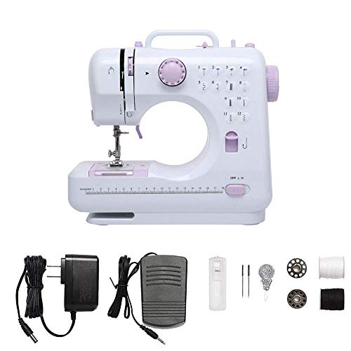 Duvinin Small Sewing Machine for Beginners,Kids,Travel,Electric Household Crafting Mending Sewing Machines-Foot Pedal/Dual-Speed/Double Thread/12 Built-in Stitches