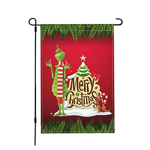 Shirt Luv Christmas Grinch House Decorative Garden Flags Outdoor Decor Burlap Flag 12 X 18 Inches