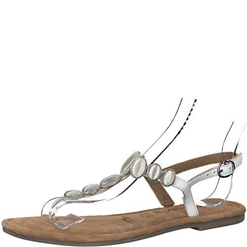 Tamaris Mujer Sandalias de Vestir 28063-34, señora Sandalia con Tiras, Sandalias con Correa,Zapatos de Verano,cómodo,Plana,White,41 EU / 7.5 UK