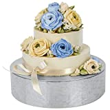 J JACKCUBE Design Silver Round Cake Stand,...