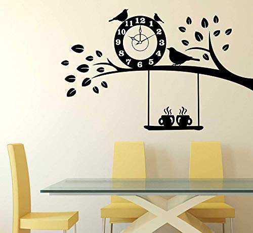 N\A Tree & Coffee Cafe Wall Sticker Vinyl Time Bird Tree Cafe Decoration Wall Decal Removable Room Decoration Decal Wallpaper