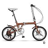 COUYY Bicicleta para niños Bicicleta Plegable de 16 Pulgadas Ultra-luz Joven Estudiante Muchacha Modelo de Adulto Modelo portátil Velocidad Variable Dual Discecto Freno Ejercicio de Seguridad,Marrón