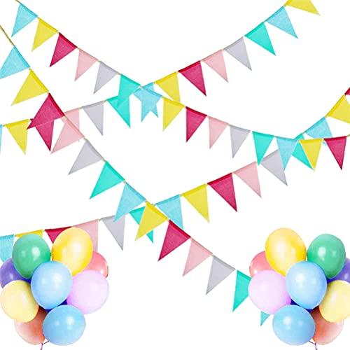 YsaAsaa Banderines para exterior, banderines triangulares, multicolor, para jardín, cumpleaños, fiestas, al aire libre, decoración