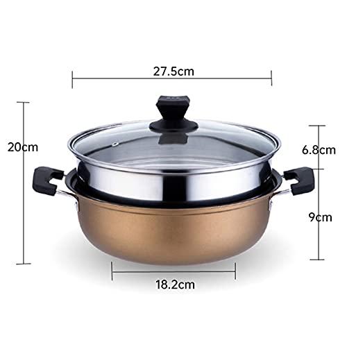 No Pegajoso Olla De Vapor, Utensilios De Cocina De Vapor De 2 Niveles, Olla De Cocina De Dos Colores, para 2~6 Personas (10.8 * 7.8 Pulgadas)(Size:28cm)
