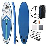 HOMCOM Aufblasbares Surfbrett Surfboard Stand Up Board mit Paddel rutschfest Inkl. Ausrüstung PVC Eva Blau+Weiß 320 x 80 x 15 cm