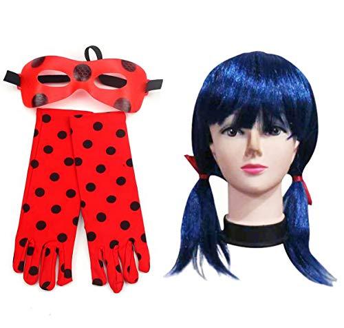 furein Kit Peluca Sintética Azul / Guantes y Antifaz para Disfraz Personaje Ladybug Modelo Talla Única para Mujer (52060)