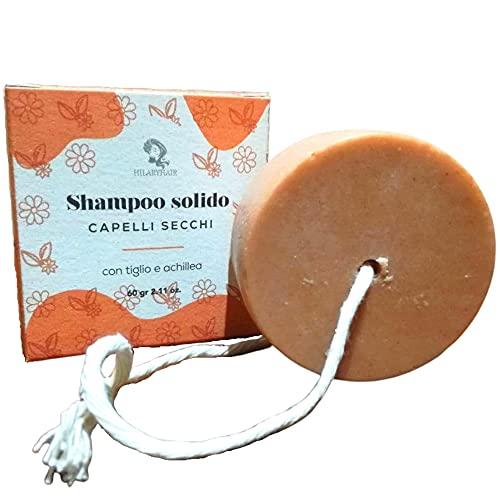 HILARYHAIR | Champú Sólido Natural | Champú Sólido Específico para Cabello Seco o Fino con Tilo, Milenrama e Ingredientes 100% Naturales | Made in Italy | 60g