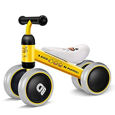 XJD Baby Balance Bikes Bicycle Baby Toys for 1 Year Old Boy Girl 10 Month -24 Months Toddler Bike Infant No Pedal 4 Wheels First Bike or Birthday Gift Children Walker, Yellow Duck